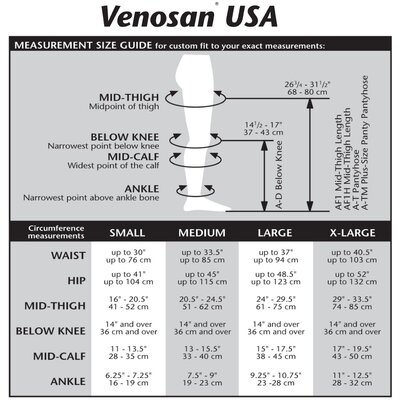 Venosan USA 20-30 mmHg Closed Toe Pantyhose