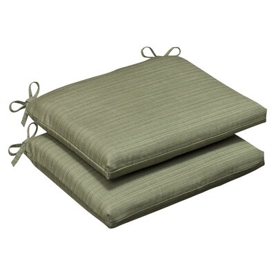 Pillow Perfect Outdoor Squared Sunbrella Fabric Seat Cushion (Set of 2)