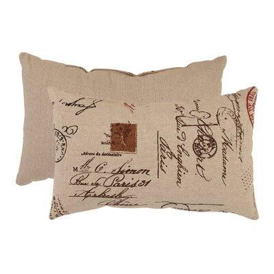 Pillow Perfect French Postale Rectangular Throw Pillow