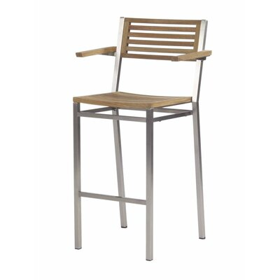 "Barlow Tyrie Teak Equinox 28.5"" Outdoor Bar Stool With Arms"