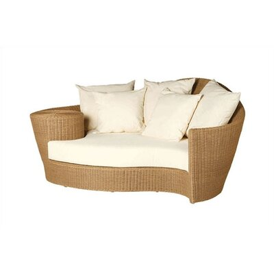Barlow Tyrie Teak Dune Woven Daybed and Ottoman with Cushions