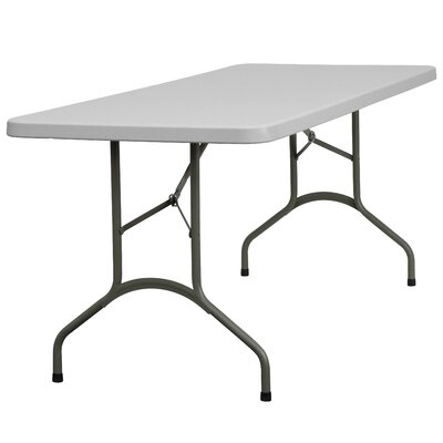 "Flash Furniture 30"" W Blow Molded Plastic Folding Table in Granite White"