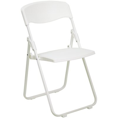 Flash Furniture Hercules Series Heavy Duty Plastic Folding Chair in White