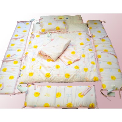 Piyo Piyo Seven Piece Crib Bedding Set in Pink