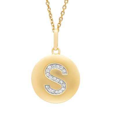 Silver on the Rocks Round Initial S Pendant in Yellow Gold