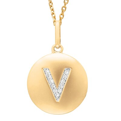 Silver on the Rocks Round Initial V Pendant in Yellow Gold