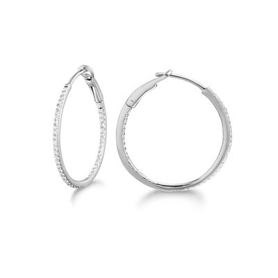 Micro Prong 14k Gold Diamond 0.20ct Oval Hoop Earring