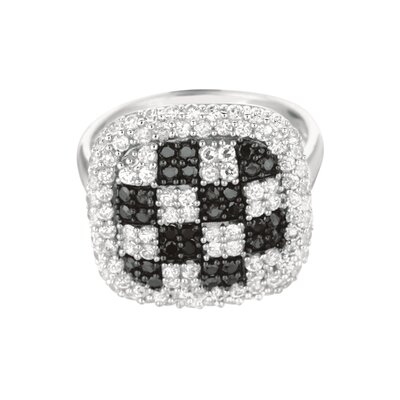 Sterling Silver Micro-Set 128 Cubic Zirconium Square Fashion Ring