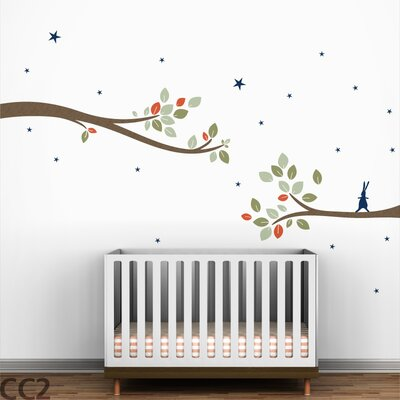 LittleLion Studio Follow the Little Rabbit Tree Branches Wall Decal