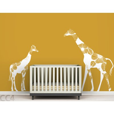 LittleLion Studio Fauna Mom and Baby Floral Giraffes Wall Decal