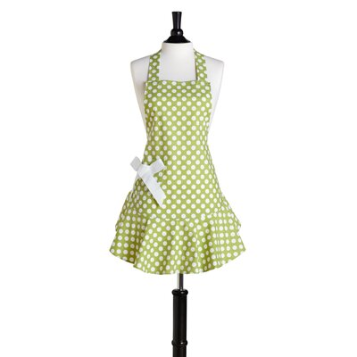 Green and White Polka Dot Bib Josephine Apron