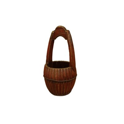 Hand Carved Water Bucket with Wooden Handle