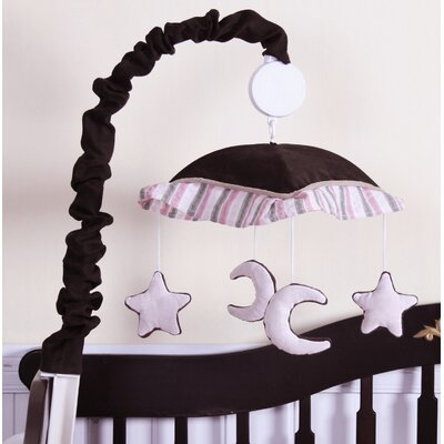 Geenny Music Mobile for Moon and Star 13 Piece Crib Bedding Set in Pink / Brown