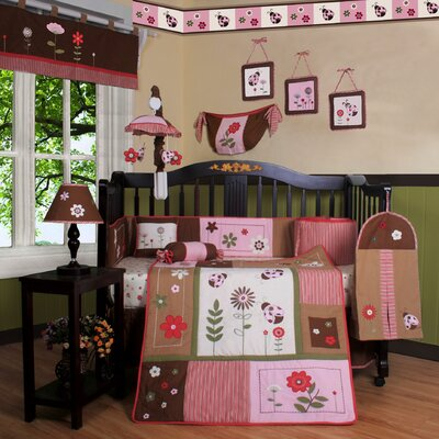 Geenny Boutique Ladybug Flower 13 Piece Crib Bedding Set