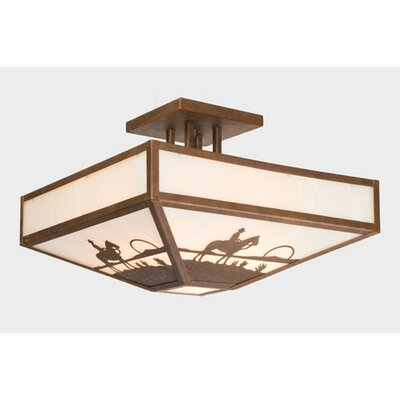 Cowboy Sunset Four Post Drop Semi Flush Mount Ceiling Light