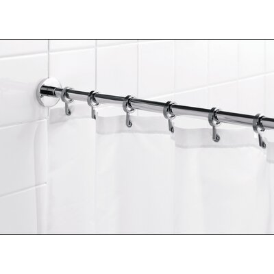 "Croydex Round 98"" Max Shower Rod with Curtain Hooks"