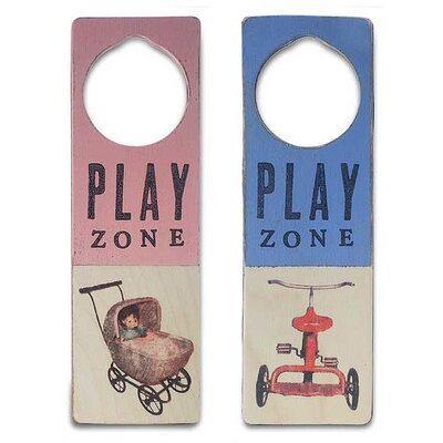 "Tree by Kerri Lee ""Play Zone"" Wooden Doorknob Sign in Distressed Pink"