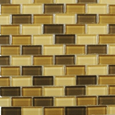 "Interceramic Shimmer Blends 12"" x 12"" Glossy Mosaic in Desert"