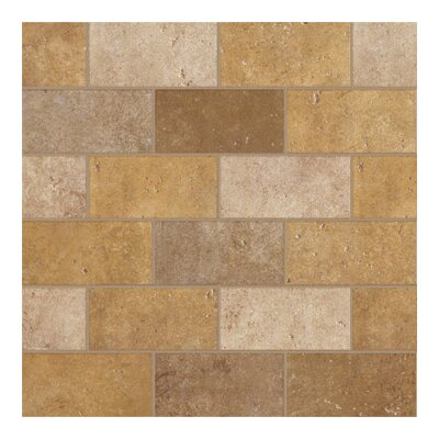 "Marazzi Walnut Canyon 13"" x 13"" Decorative Brick Mosaic in Golden"