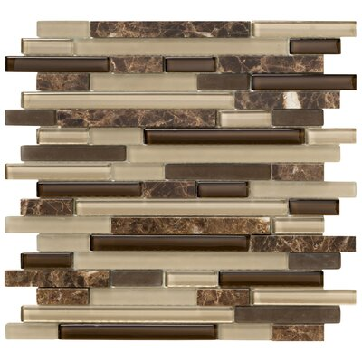 "Marazzi Crystal Stone II 12"" x 12"" Glass Strip Mosaic in Espresso"