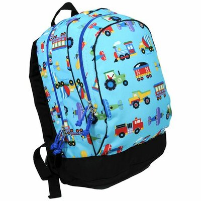 Wildkin Olive Kids Trains, Planes &amp; Trucks Backpack in Blue