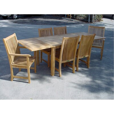 Anderson Teak Bahama 7 Piece Rectangular Extension Table Set with Chicago Armchair and Chair