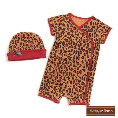 Baby Hat and Body Suit in Leopard Print