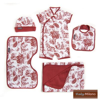 Baby Milano 5 Piece Baby Gift Set in Burgundy Toile