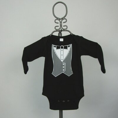 Black Tuxedo Vest Infant Bodysuit - Long Sleeve