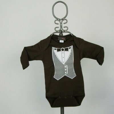 Brown Tuxedo Vest Infant Bodysuit - Long Sleeve