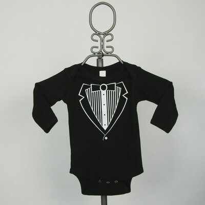 Baby Milano Long Sleeve Infant Bodysuit in Black Tuxedo