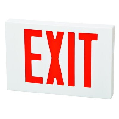 Morris Products LED Exit Sign in Red LED and White Housing with Battery Backup