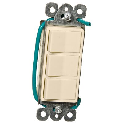 Morris Products 15A-120/277V Commercial Grade Decorator Triple Rocker Switch in Almond