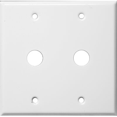 "Morris Products 0.41"" Two Gang Cable Metal Wall Plates in White"
