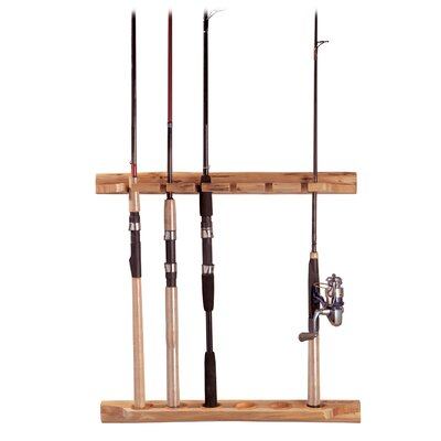 Wall Mount Log Vertical / Horizontal 6 Fishing Rod Rack