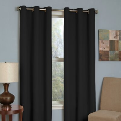 Eclipse Curtains Microfiber Grommet Blackout Window Panel in Black