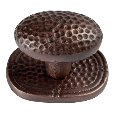 The Copper Factory Small Oval Hammered Copper Knob with Optional Backplate