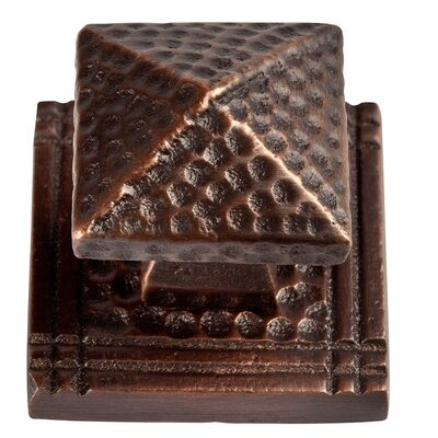 Small Square Hammered Copper Knob with Optional Backplate