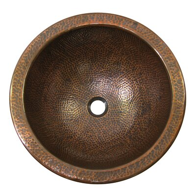 The Copper Factory Hand Hammered Copper Large Round Self-Rimming Bathroom Sink