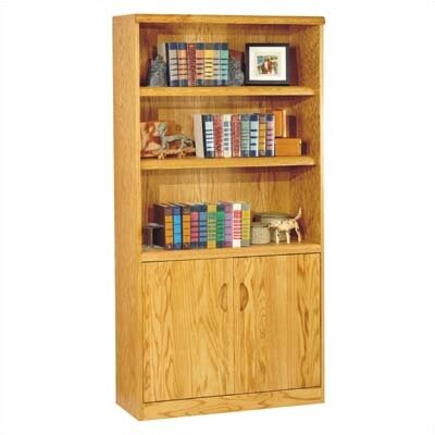 Waterfall Bookcase with Lower Doors