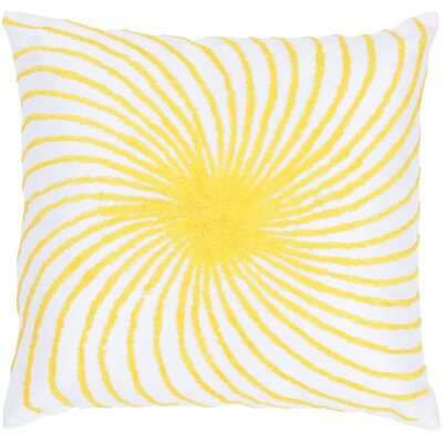 "Rizzy Home T-3584 18"" Decorative Pillow in White / Yellow"
