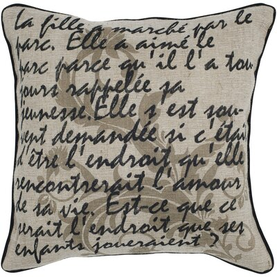 Rizzy Home Beige and Black Printed Vintage Decorative Pillow