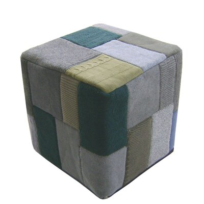 Moe's Home Collection Wool Patched Cube Ottoman