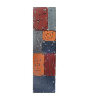 Moe's Home Collection Font Distressed Panel Plaque