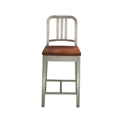 Emeco Emeco Navy Counter Stool with Natural Wood Seat