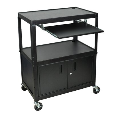 Luxor Extra Wide AV Cart with Cabinet and Keyboard Tray