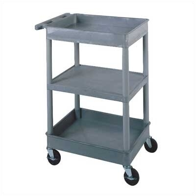 Luxor Two Tub and One Flat Shelf Utility Cart