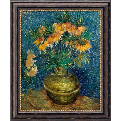 "Amanti Art Crown Imperial Fritillaries in a Copper Vase by Vincent Van Gogh, Framed Canvas Art- 23.97"" x 19.97"""