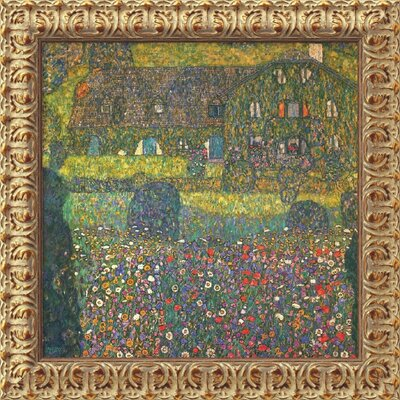 "Amanti Art House in Attersee by Gustav Klimt, Framed Canvas Art - 19.5"" x 19.5"""