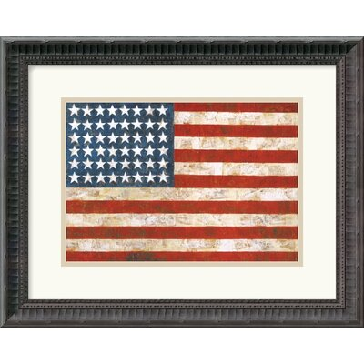"Amanti Art Flag, 1954-55 by Jasper Johns Framed Fine Art Print - 14.18"" x 17.81"""